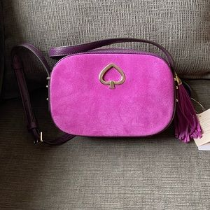 NWT Kate Spade kourtney purple suede crossbody